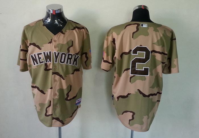 MLB New York Yankees 2 Derek Jeter Camo Jerseys
