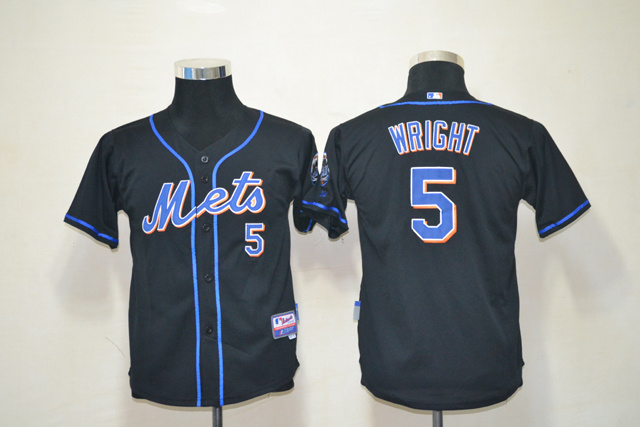 MLB Youth New York Mets 5 Wright Black Jersey