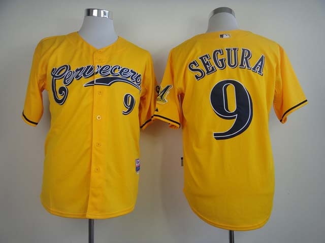 MLB Milwaukee Brewers 9 Jean Segura Yellow Cerveceros Jerseys