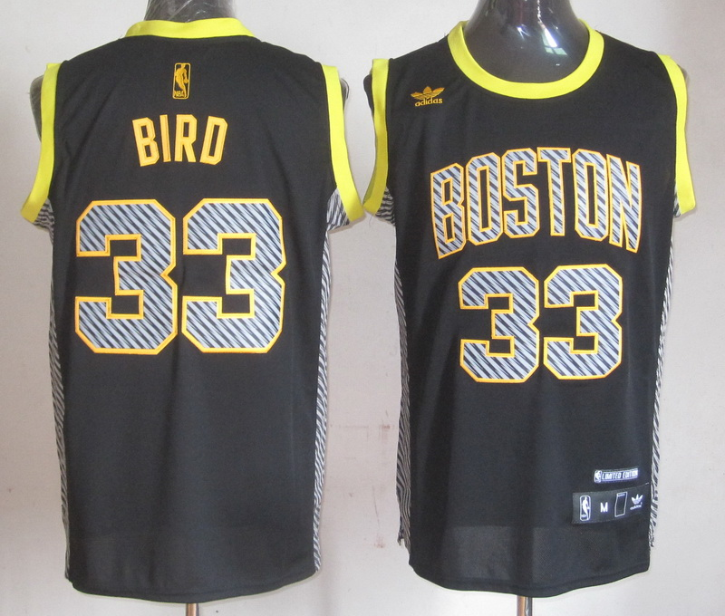 NBA Boston Celtics 33 Larry Bird Black Electricity Fashion Swingman Jersey