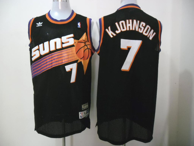 NBA Phoenix Suns 7 kevin Johnson Black Throwback Retro