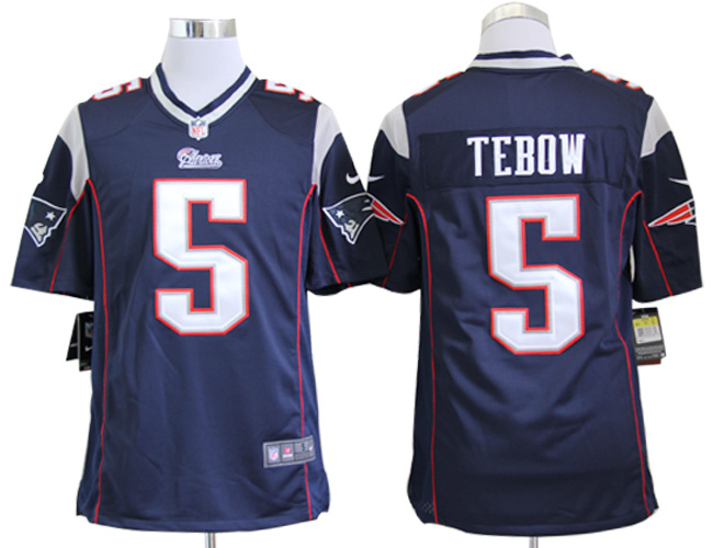 New England Patriots 5 Tim Tebow Blue Nike Game Jersey