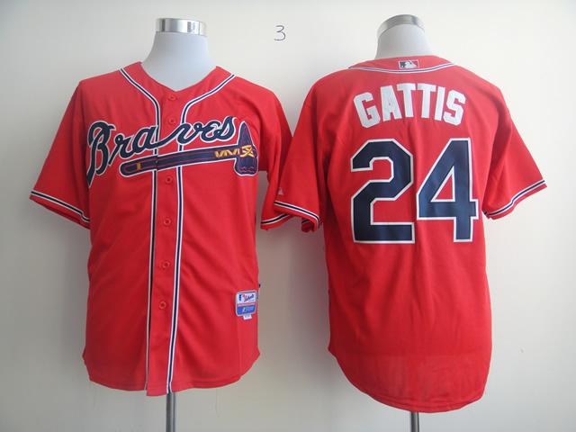 MLB Atlanta Braves 24 Evan Gattis red Jersey