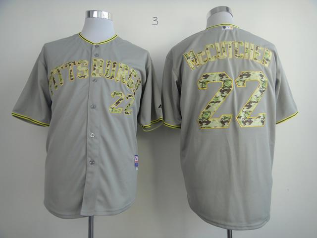 MLB Pittsburgh Pirates 22 Adnrew McCutchen Grey Camo Jersey