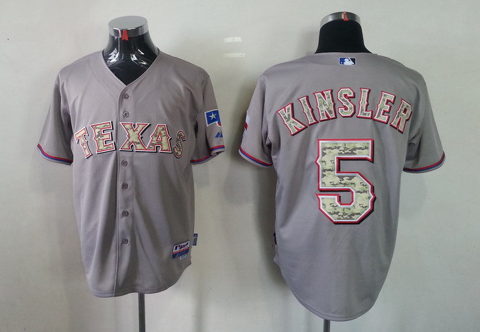 MLB Texas Rangers 5 Ian Kinsler Grey Camo Jerseys
