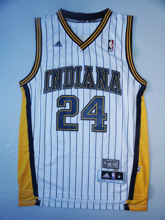 NBA Indiana Pacers 24 Paul George throwback white with stripe jersey