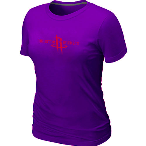 Houston Rockets Big Tall Primary Logo Purple Womens T-Shirt