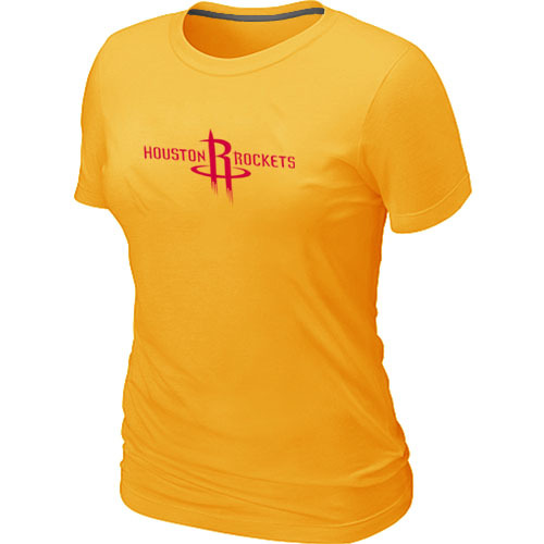 Houston Rockets Big Tall Primary Logo Yellow Womens T-Shirt