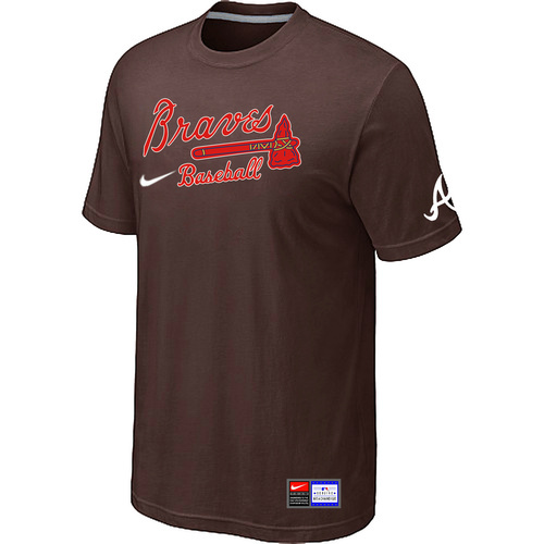 MLB Atlanta Braves Brown Nike Short Sleeve Practice T-Shirt