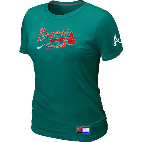 MLB Atlanta Braves Nike Womens L-Green Short Sleeve Practice T-Shirt