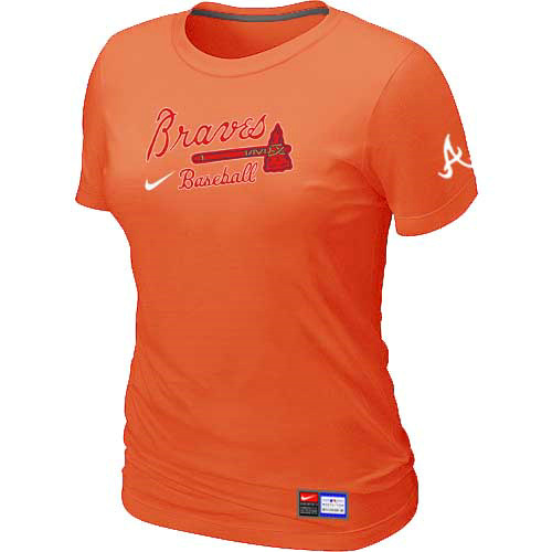 MLB Atlanta Braves Nike Womens Orange Short Sleeve Practice T-Shirt