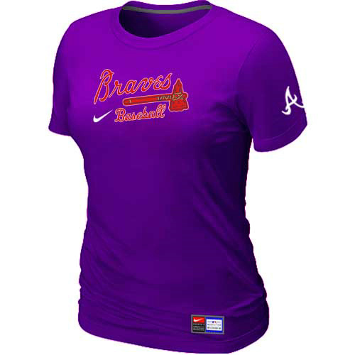 MLB Atlanta Braves Nike Womens Purple Short Sleeve Practice T-Shirt