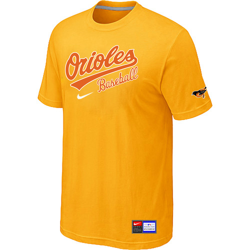 MLB Baltimore Orioles Yellow Nike Short Sleeve Practice T-Shirt
