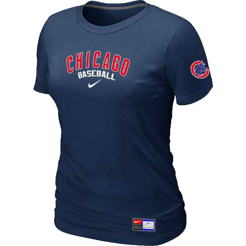 MLB Chicago Cubs Nike Womens D-Blue Short Sleeve Practice T-Shirt
