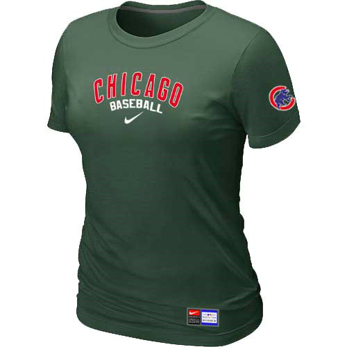 MLB Chicago Cubs Nike Womens D-Green Short Sleeve Practice T-Shirt