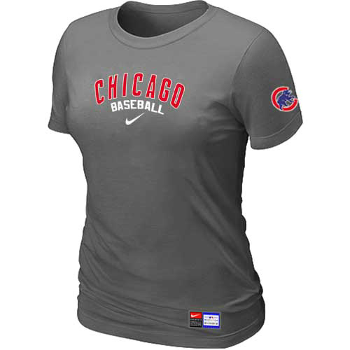 MLB Chicago Cubs Nike Womens D-Grey Short Sleeve Practice T-Shirt