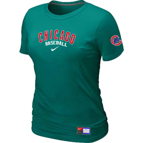 MLB Chicago Cubs Nike Womens L-Green Short Sleeve Practice T-Shirt