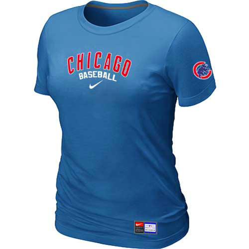 MLB Chicago Cubs Nike Womens L-blue Short Sleeve Practice T-Shirt
