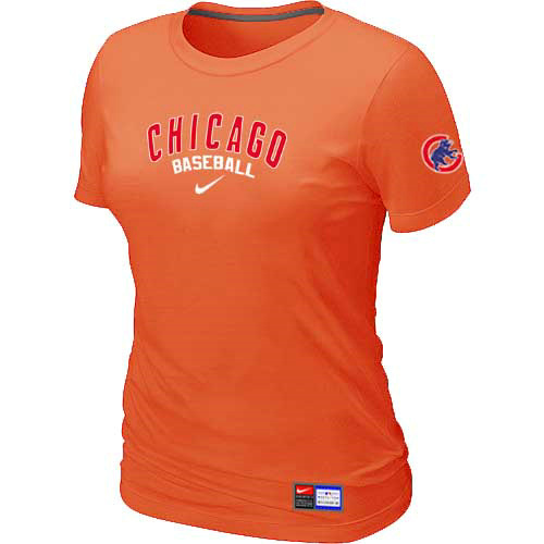 MLB Chicago Cubs Nike Womens Orange Short Sleeve Practice T-Shirt