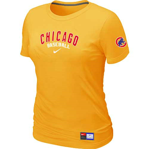 MLB Chicago Cubs Nike Womens Yellow Short Sleeve Practice T-Shirt