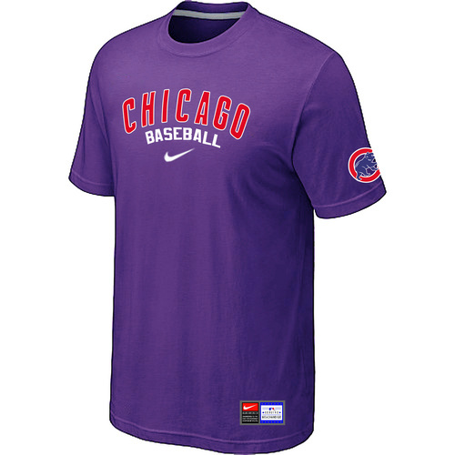 MLB Chicago Cubs Purple Nike Short Sleeve Practice T-Shirt