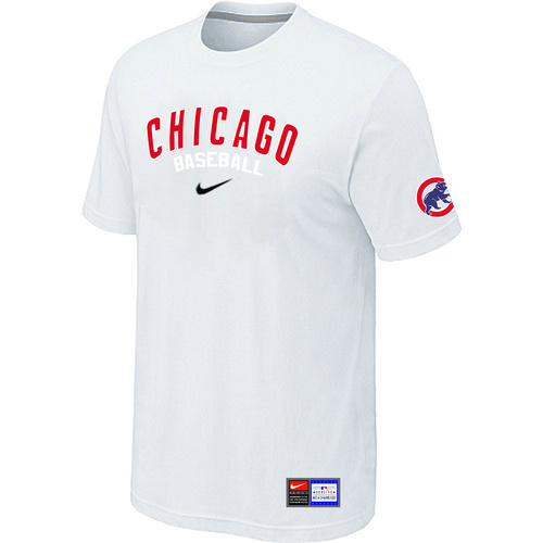 MLB Chicago Cubs White Nike Short Sleeve Practice T-Shirt