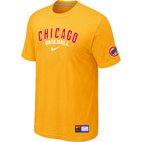 MLB Chicago Cubs Yellow Nike Short Sleeve Practice T-Shirt