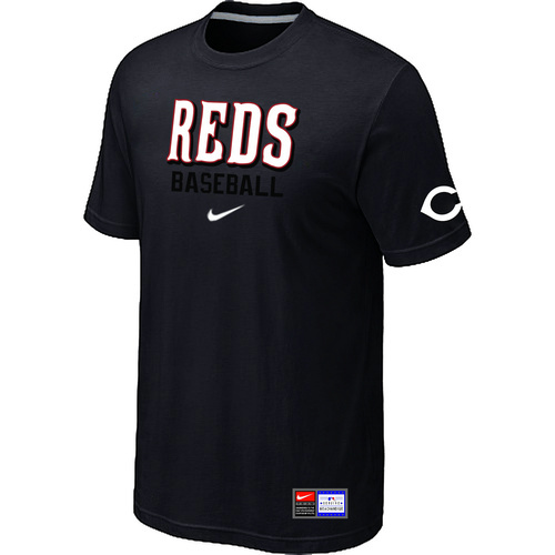 MLB Cincinnati Reds Black Nike Short Sleeve Practice T-Shirt