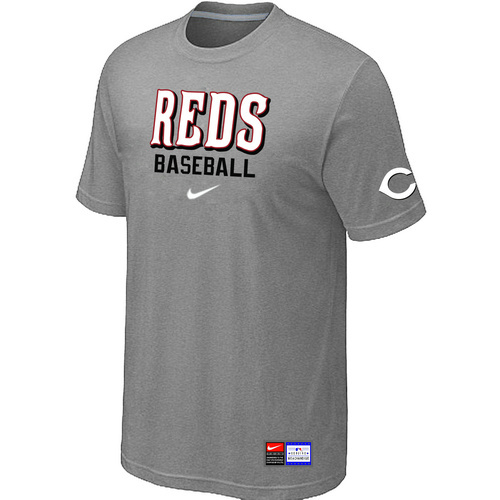 MLB Cincinnati Reds L-Grey Nike Short Sleeve Practice T-Shirt