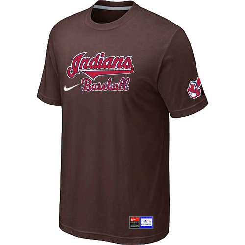 MLB Cleveland Indians Brown Nike Short Sleeve Practice T-Shirt