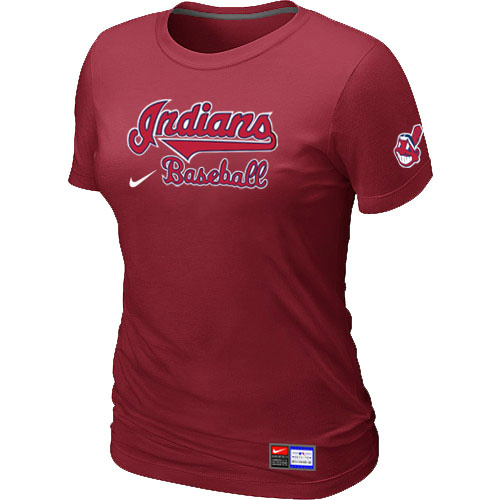 MLB Cleveland Indians Red Nike Womens Short Sleeve Practice T-Shirt