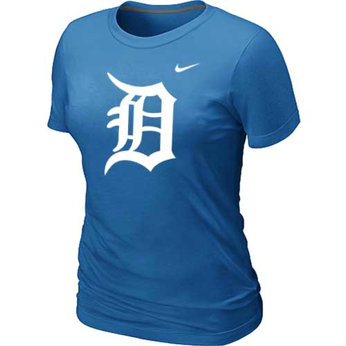 MLB Detroit Tigers Heathered L-blue Nike Womens Blended T-Shirt