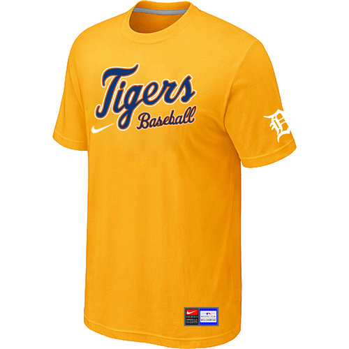 MLB Detroit Tigers Yellow Nike Short Sleeve Practice T-Shirt