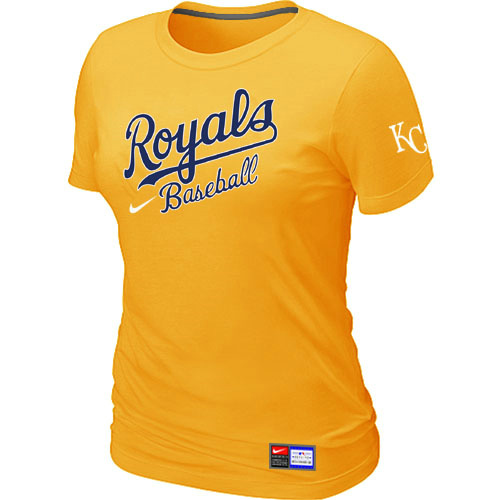 MLB Kansas City Royals Yellow Nike Womens Short Sleeve Practice T-Shirt