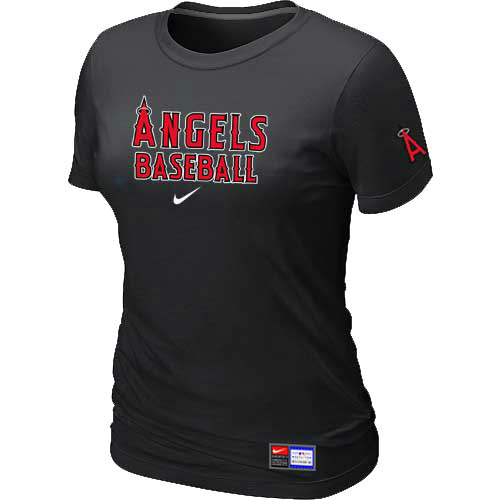 MLB Los Angele sofAnaheim Nike Womens Black Short Sleeve Practice T-Shirt
