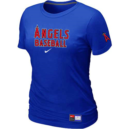 MLB Los Angele sofAnaheim Nike Womens Blue Short Sleeve Practice T-Shirt