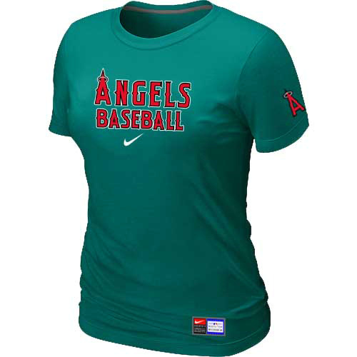 MLB Los Angele sofAnaheim Nike Womens L-Green Short Sleeve Practice T-Shirt
