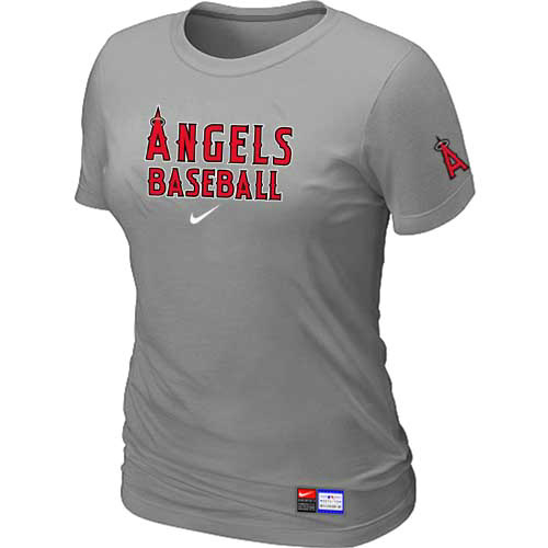 MLB Los Angele sofAnaheim Nike Womens L-Grey Short Sleeve Practice T-Shirt
