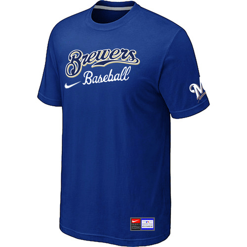MLB Milwaukee Brewers Blue Nike Short Sleeve Practice T-Shirt