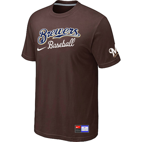 MLB Milwaukee Brewers Brown Nike Short Sleeve Practice T-Shirt