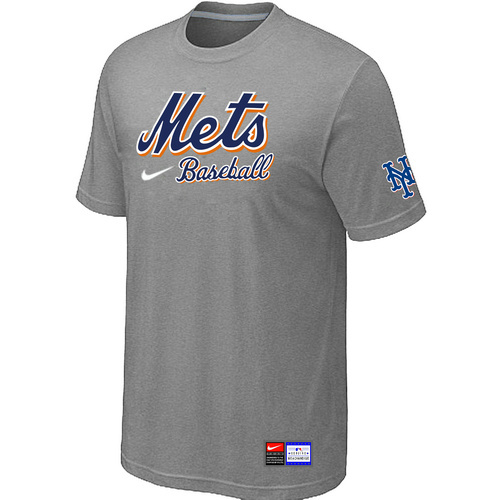 MLB New York Mets L-Grey Nike Short Sleeve Practice T-Shirt