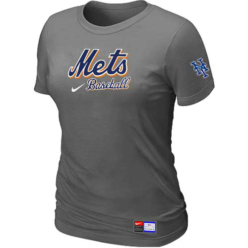 MLB New York Mets Nike Womens D-Grey Short Sleeve Practice T-Shirt