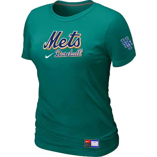 MLB New York Mets Nike Womens L-Green Short Sleeve Practice T-Shirt