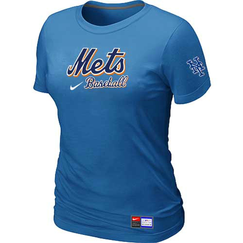MLB New York Mets Nike Womens L-blue Short Sleeve Practice T-Shirt