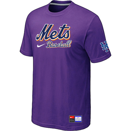 MLB New York Mets Purple Nike Short Sleeve Practice T-Shirt