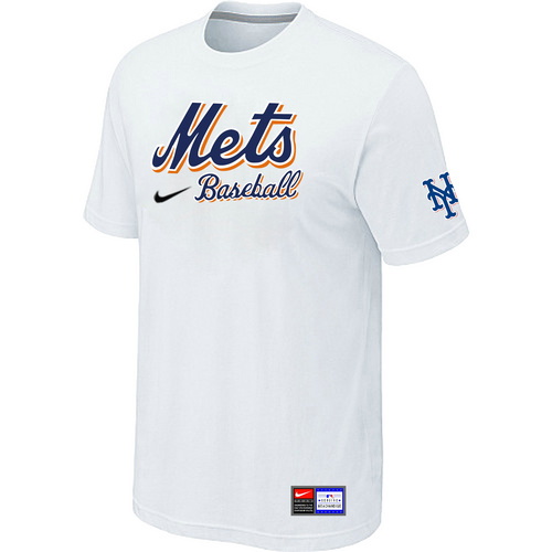 MLB New York Mets White Nike Short Sleeve Practice T-Shirt