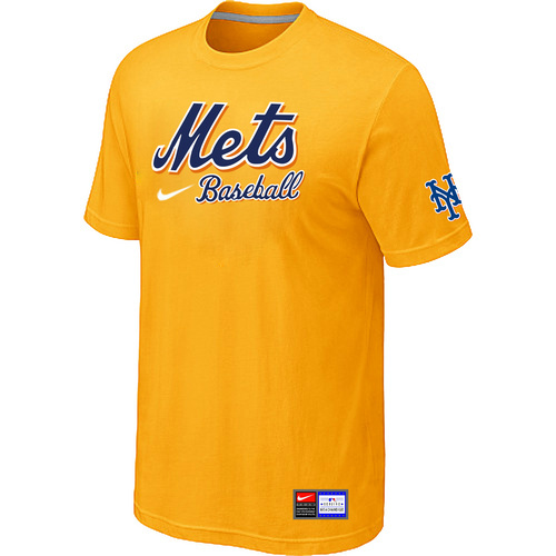 MLB New York Mets Yellow Nike Short Sleeve Practice T-Shirt