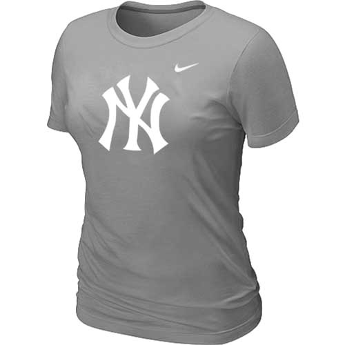 MLB New York Yankees Heathered L-Grey Nike Womens Blended T-Shirt