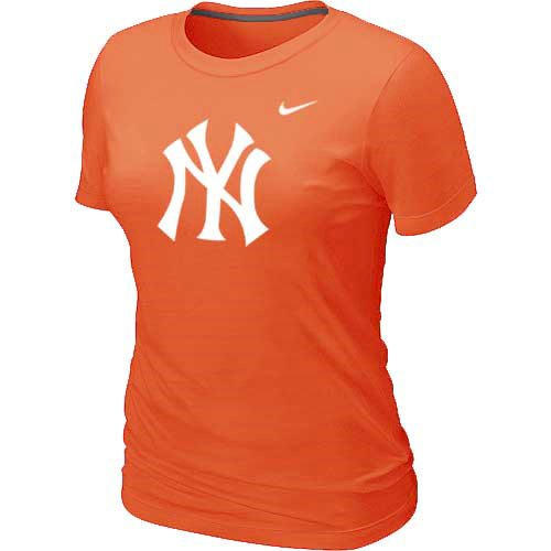 MLB New York Yankees Heathered Orange Nike Womens Blended T-Shirt