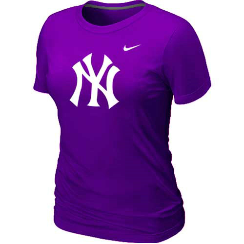 MLB New York Yankees Heathered Purple Nike Womens Blended T-Shirt